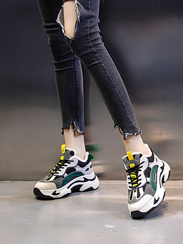 Genuine Leather Plus Velvet All-Match Casual Platform Sports Shoes