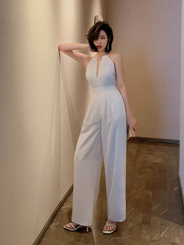 Solid Color Halter Jumpsuit