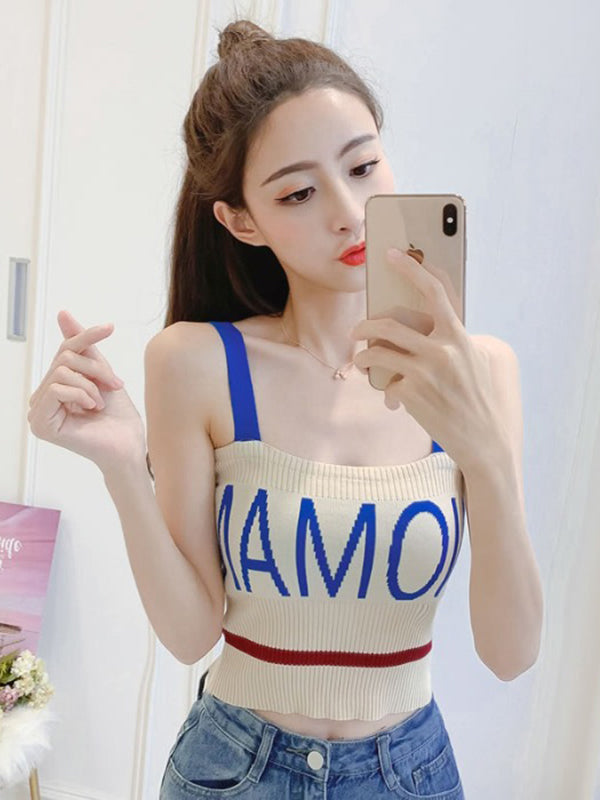 Net Red Fashion Letter Vest Knitted Top