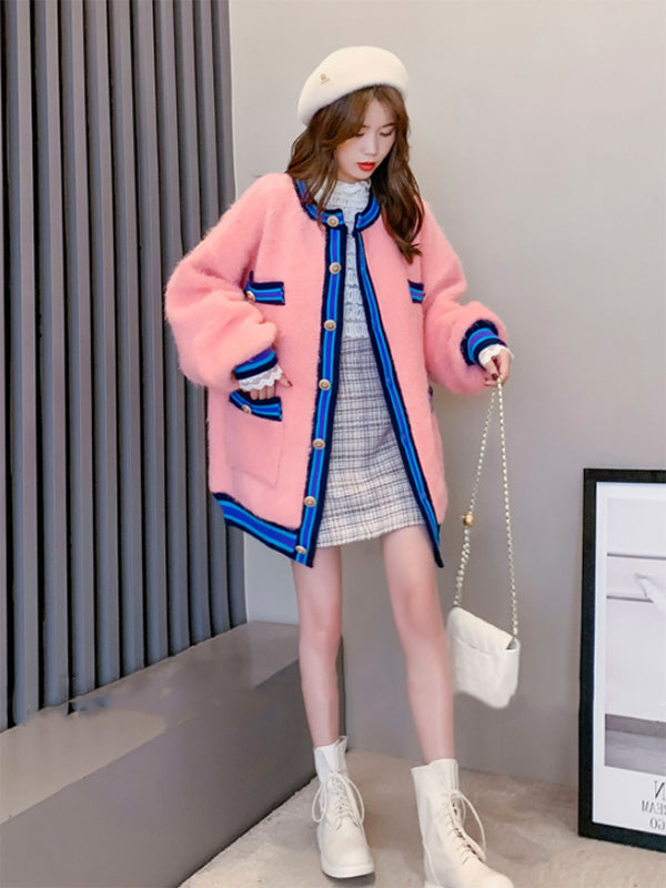 Thick Sweater Coat Sweet Knitted Cardigan
