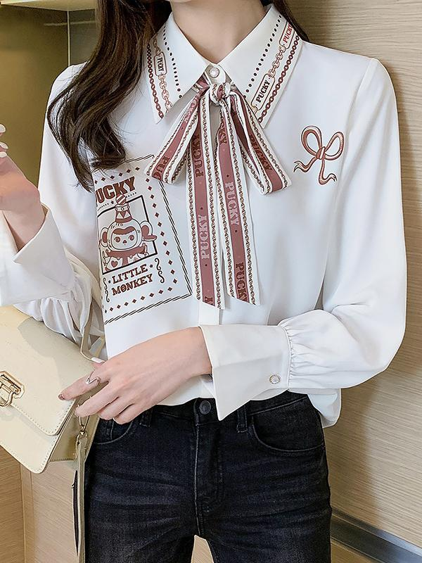 Long-Sleeved Temperament Printed Shirt
