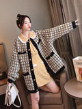 Sweater Jacket Loose Large Size Small Fragrance Knit Plaid Tweed Cardigan