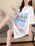 Long Loose T-Shirt Skirt Stitching Small Daisy Top