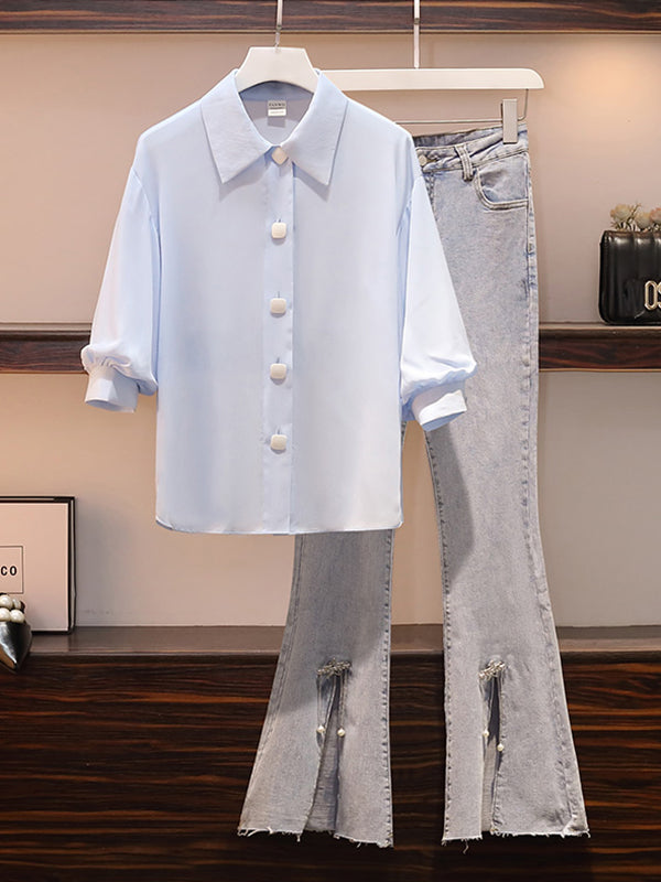 2021 New Fashion Rib Shirt + Flared Jeans
