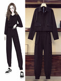2021 New Plus Size Crop Jacket + Overalls Two-Piece Suit