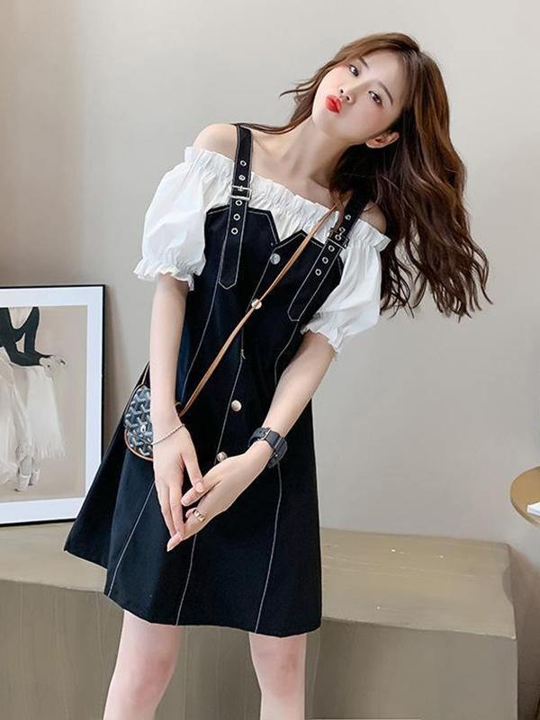 Puff Sleeve Strap A-line Dress