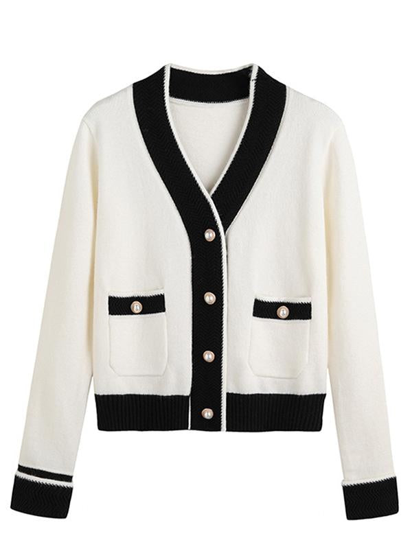 Ladies Knit Cardigan Short Contrast Pearl Button Loose Retro Trench Coat
