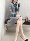 Knit Dress Fashion Temperamen Rok Dasar Lengan Panjang