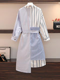 Striped Shirt Mid Length Loose And Slim Dress