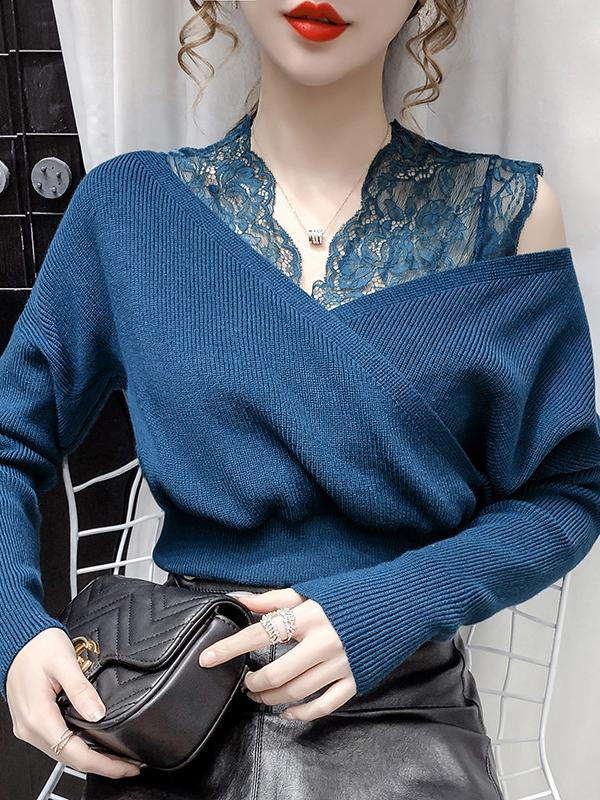 Lace Stitching V-Neck Women'S Western Style Slim Bottoming Shirt