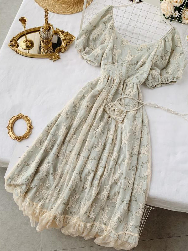 French Sweet Retro Lace High Waist Slim Floral Dress