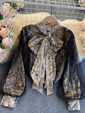 Loose Vintage Snakeskin Shirt With Gauze Lantern Sleeves