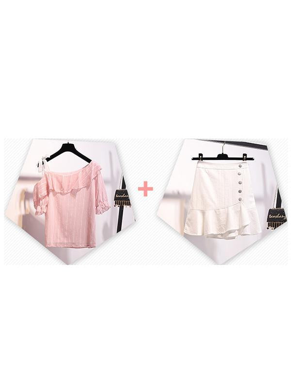 Two-Piece Fresh Sweet Off Shoulder Top + Setelan Rok Fishtail Pinggang Tinggi