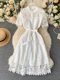 2021 New Cut Out Round Neck Lace Up Short Sleeve Dress - Anngy