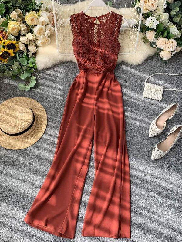 2021 New Cut Out Backless Sleeveless Lace Longgar Jumpsuit