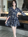 V-neck Floral Print Chiffon Dress