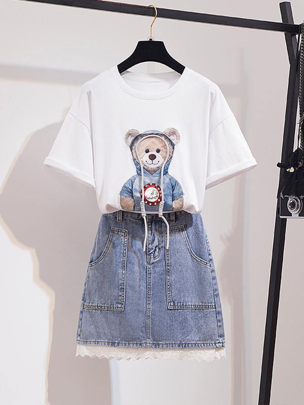 New Cartoon Bear T-shirt + Denim Shorts Two Piece Set - Anngy