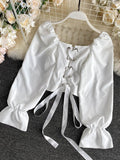 Sweet Pleated Square Neck Tie Waist Short Foreign Style Bubble Sleeve Shirt