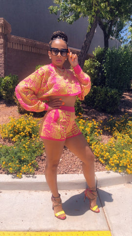 Pink And Yellow Marble Two Piece Short Set