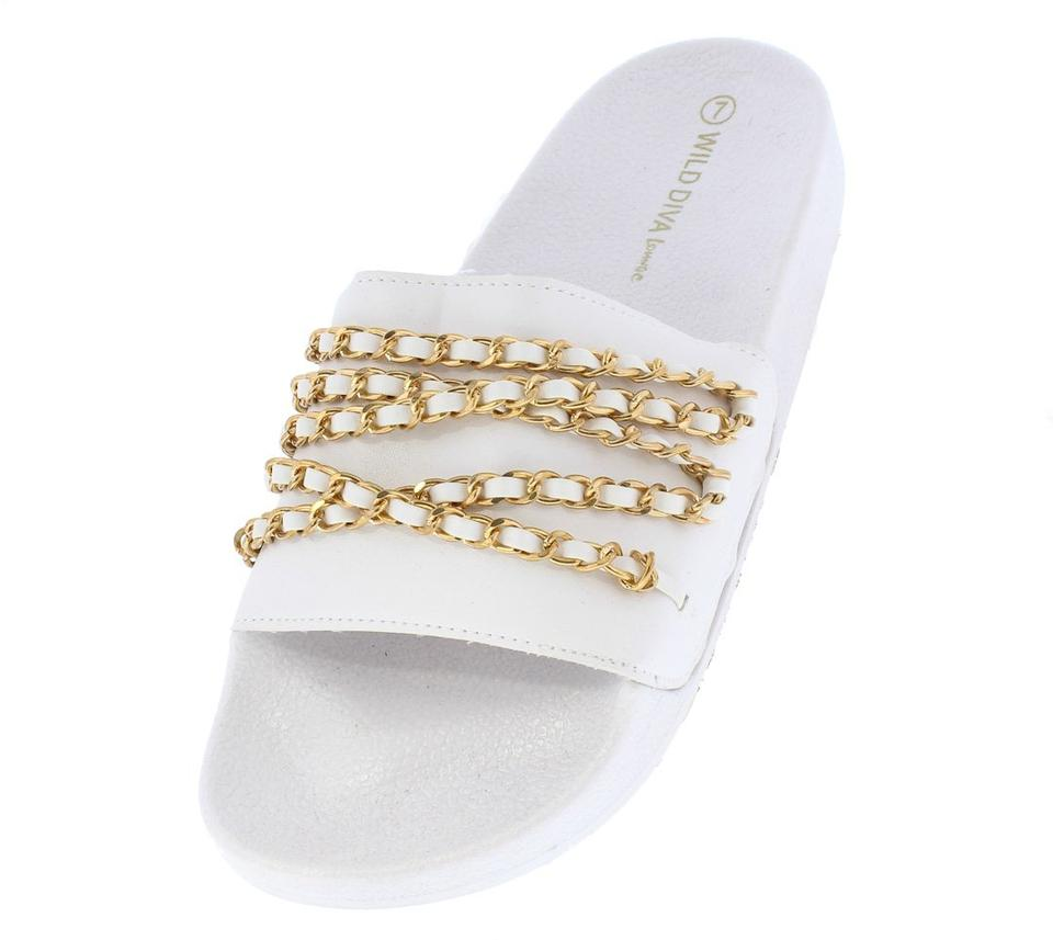 Black And White Chanel Inspired Chain Slides