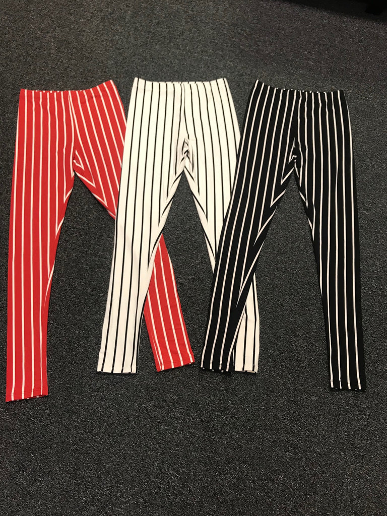White Black Striped Leggings