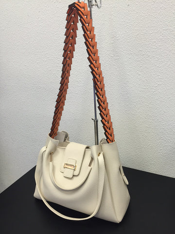 Cream Hobo Purse w/Orange Strap