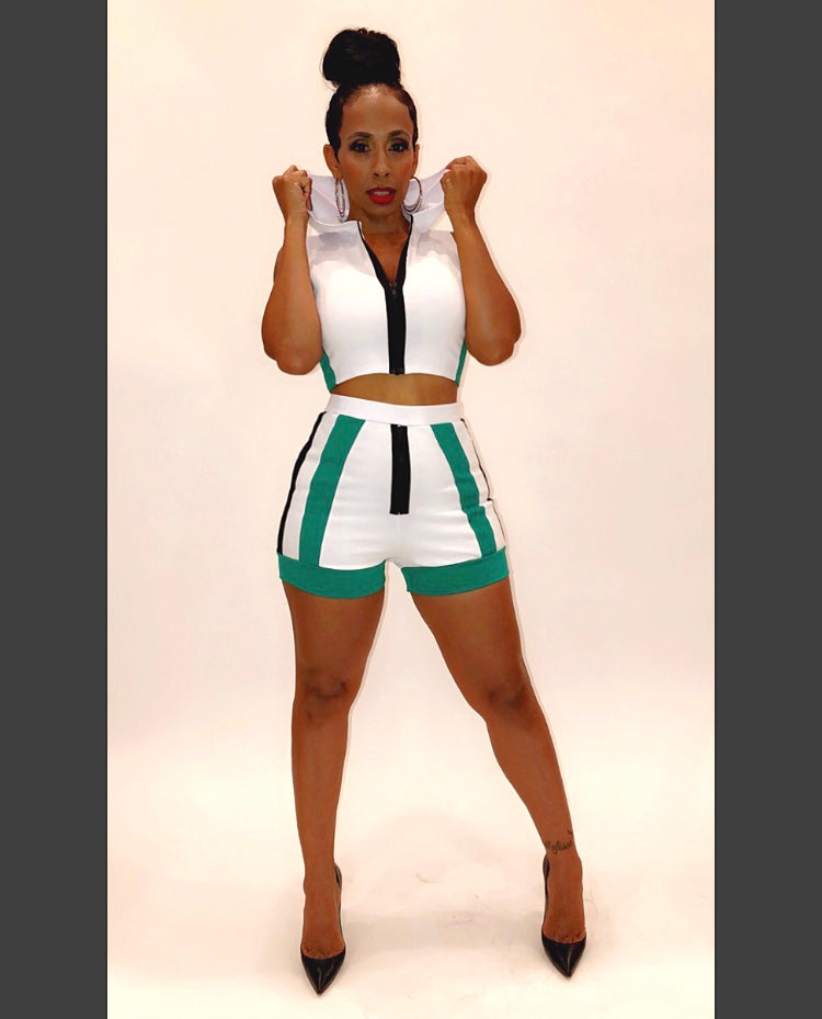 DLove Teal And White Two Piece Shorts Set