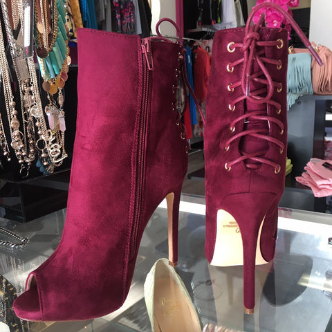Cranberry Faux Suede Peep Toe Booties