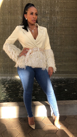 Cream Jazz-A-Bell Fringe Blazer w/Gold Crystal Belt