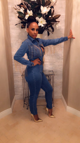 Glitz And Glam Denim Jumpsuit