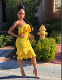 Sunshine Fitted Peplum Dress