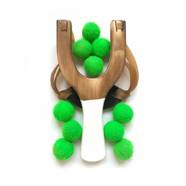 Wooden Toy White Slingshot with Neon Felt Balls