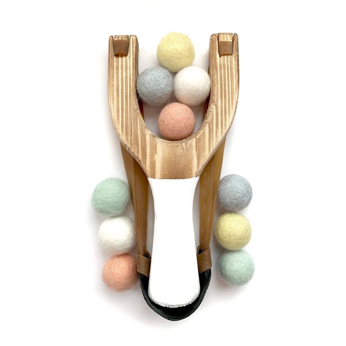 Wooden Toy Slingshot with Pastel Mix Felt Balls
