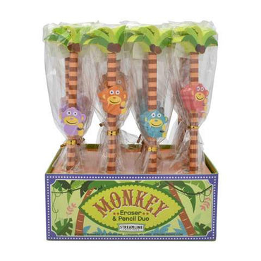 Monkey Pencil and Eraser Set