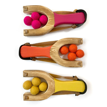 Wooden Toy Slingshot with Felt Balls