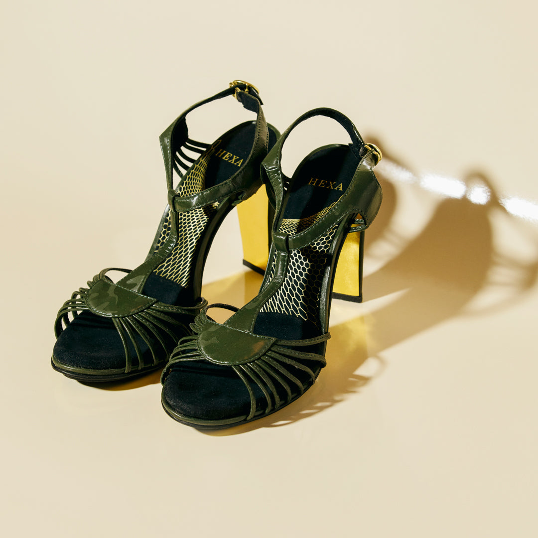 "Looker - Vegan High Heel Sandal 4"" - Army"