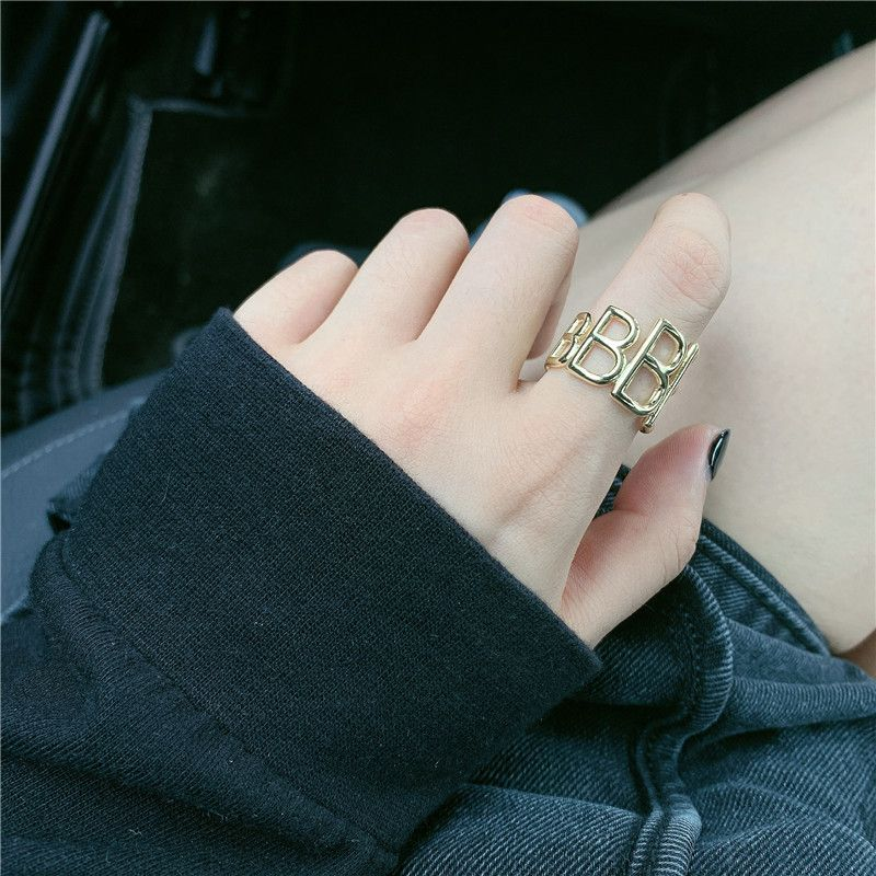 Simple Three-dimensional Letter Brass Opening Couple Ring Adjustable