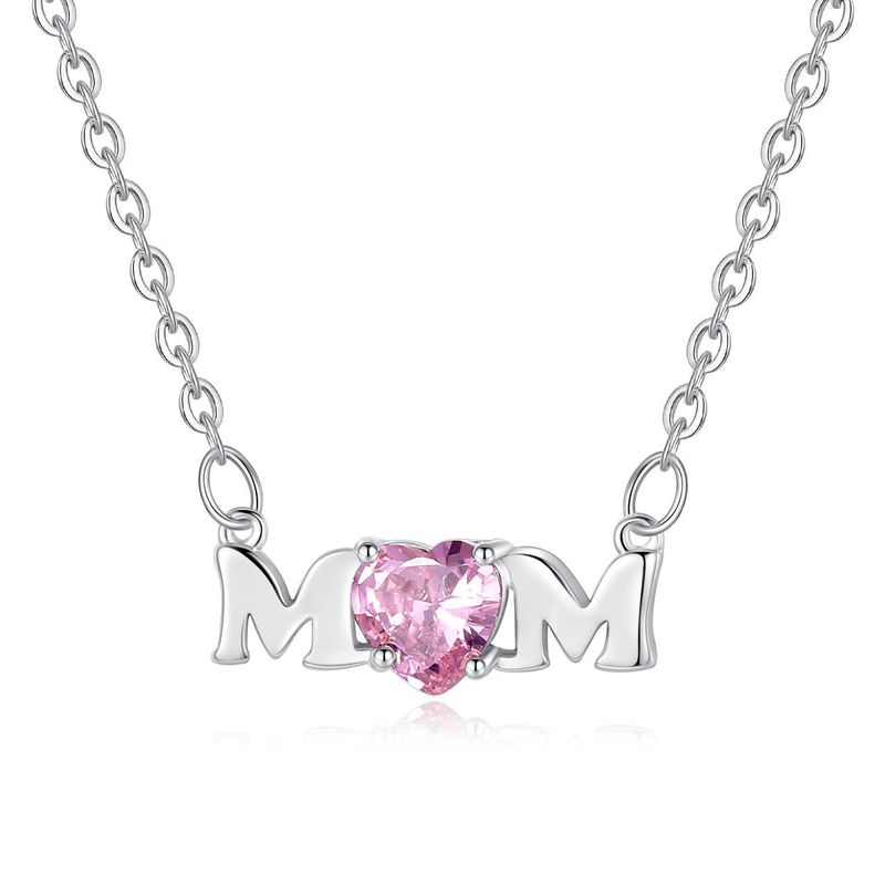 New Mother's Day Necklace Pink Heart Shaped Zircon Alphabet Necklace