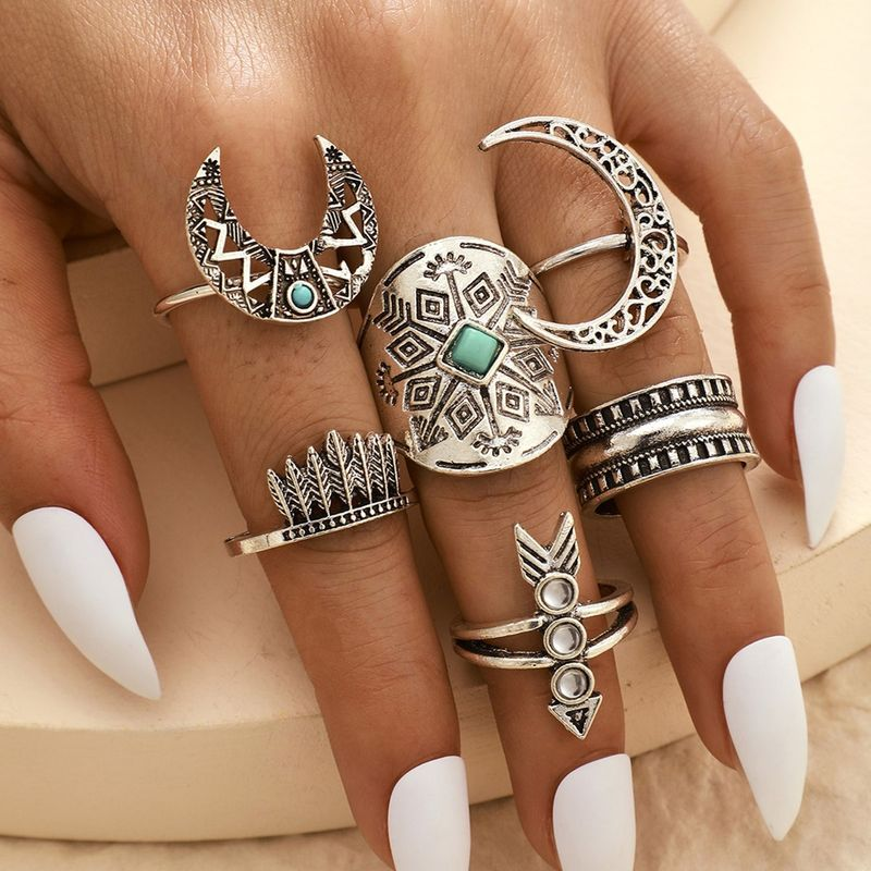 Retro Fashion All-match Alloy Totem Leaf Moon Arrow Ring 6-piece Set Alloy Hollow Horn Ring
