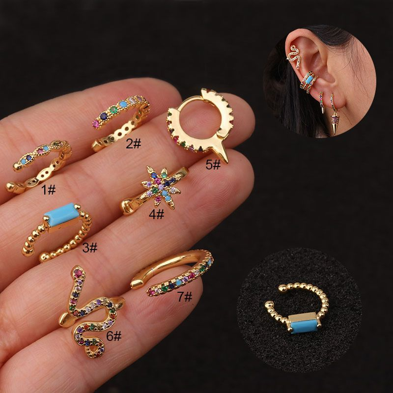 New U-shaped Ear Clip Color Zircon Ear Bone Clip Fashion Non-pierced Earrings