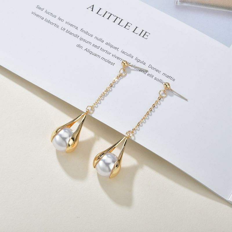 Korean Pearl Matt Texture Metal S925 Silver Needle Simple Versatile Long Tassel Earrings