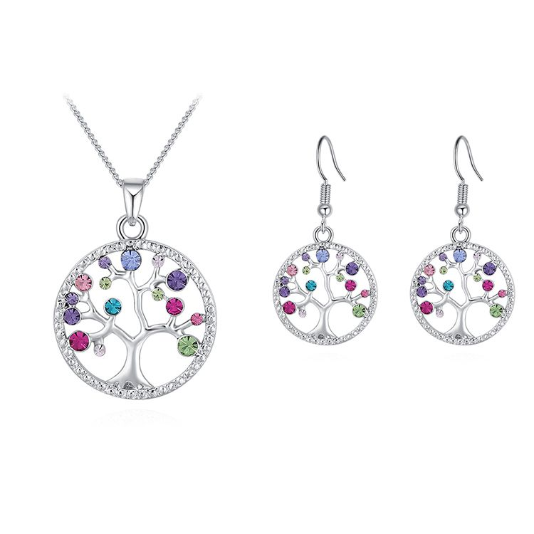 Plated Alloy Set--acacia Tree B (platinum + Color) Fine Jewelry