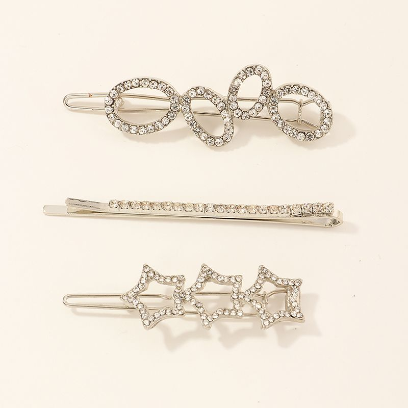 3 Sets Of Silver Five-pointed Star Hairpins