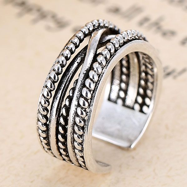 Fashion Jewelry Metal Vintage Woven Temperament Open Ring