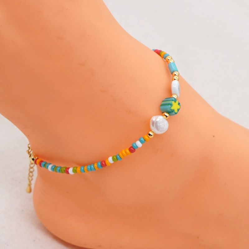 Fashion Niche Eyes Rainbow Rice Beads All-match Natural Freshwater Pearl Anklet For Women