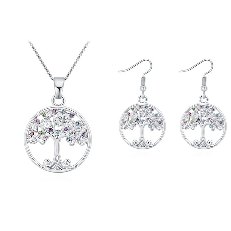 Plated Alloy Set--acacia Tree A (platinum + Color) Fine Jewelry
