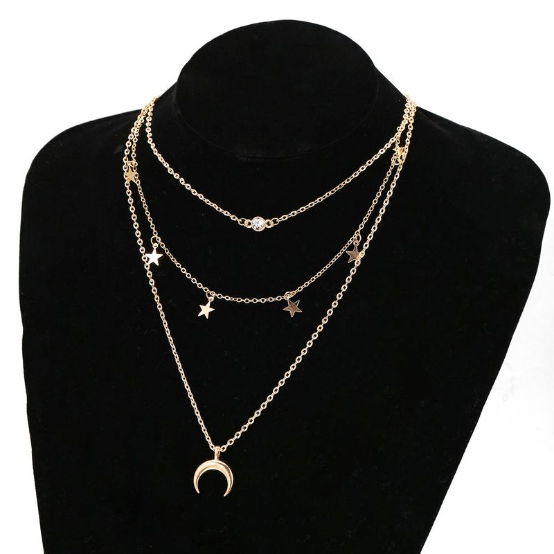 New Creative Simple Star Moon Multilayer Necklace