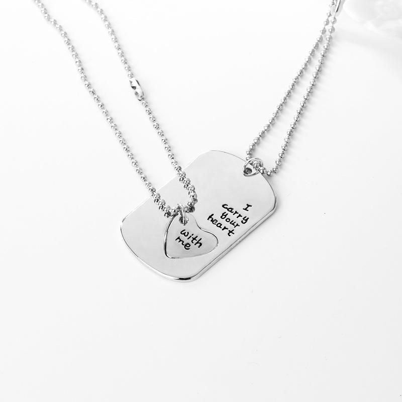 New Fashion Jewelry Hot Sale Couple Love Inlaid Pendant Necklace