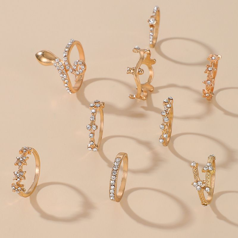 Diamond Snake-shaped Star Five-pointed Star Carved Imitation Opal 9 Piece Ring Set