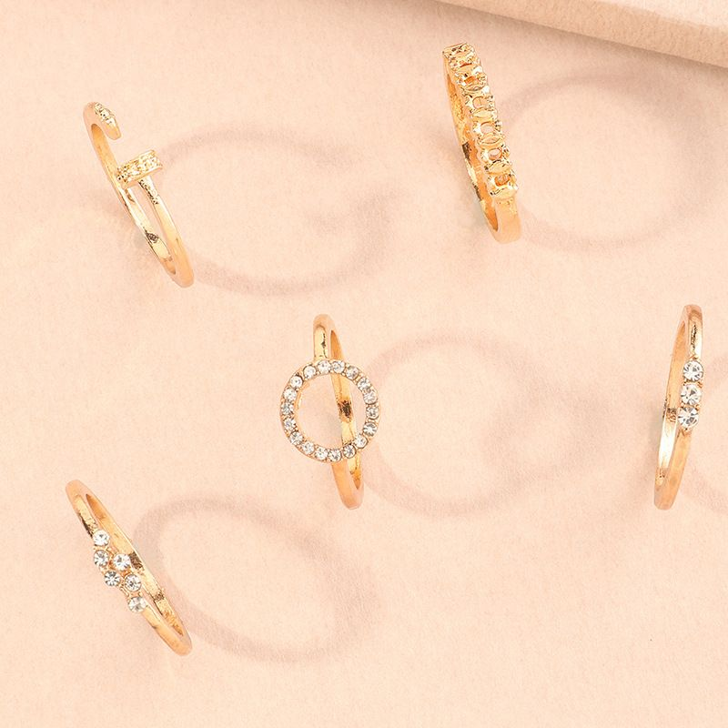 Geometric Micro-inlaid Ring 5-piece Set Creative Joint Ring